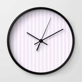Trendy Large Orchid Lilac Pastel Pale Purple French Mattress Ticking Double Stripes Wall Clock