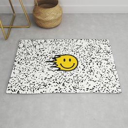 Smiley Face on Black and White Speckled Print Rug