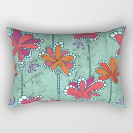AfricanFabric inspired Flowers on Turquoise Rectangular Pillow