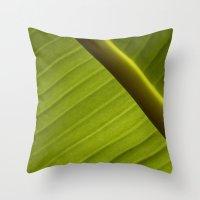 banana leaf Throw Pillows featuring Banana Leaf by Maria Heyens