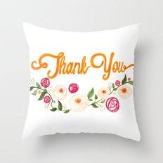 Floral Thanks Throw Pillow