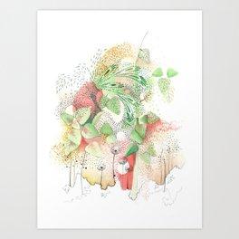 Jardin rojo Art Print