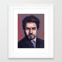 tony stark Framed Art Prints featuring Tony Stark by pandatails