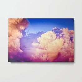 Towers Of Pink Cumulus Clouds In The Summer Sky At Sunset Metal Print