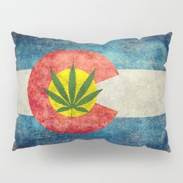 Retro Colorado State flag with leaf - Marijuana leaf that is! Pillow Sham