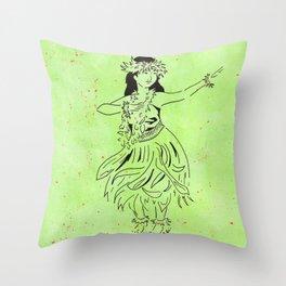 The Hula Kahiko of Laka  (traditional hula dancer in grass skirt) Throw Pillow