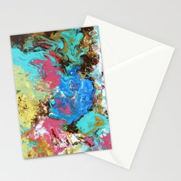 Abstract fluid painting, gold, turquoise Stationery Cards
