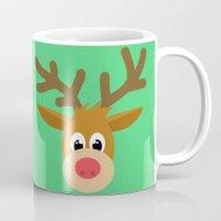 reindeer Mugs featuring reindeer by elvia montemayor
