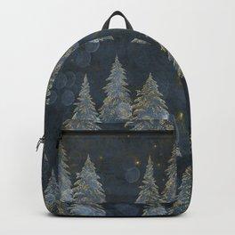Fairy Pine Trees Golden Winter Christmas Lights Gold And Indigo Blue Landscape Decor Backpack