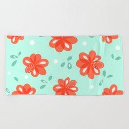 Cheerful Red Flowers Pattern Beach Towel