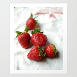 A Burst of Strawberry Red Art Print