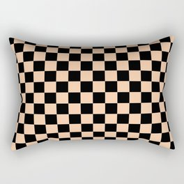 Black and Deep Peach Orange Checkerboard Rectangular Pillow