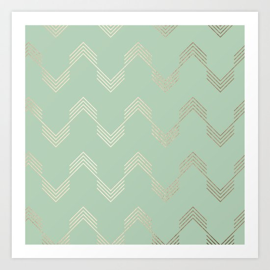 Simply Deconstructed Chevron in White Gold Sands and Pastel Cactus Green Art Print