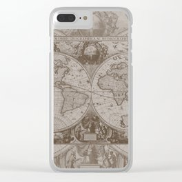Antique Brown Map Clear iPhone Case