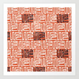 Abstract hand painted orange white black geometric pattern Art Print