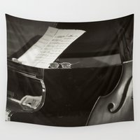 music notes Wall Tapestries featuring Grand Piano and Music Notes by cinema4design
