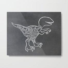 Raptor Dinosaur (A.K.A Bird of Prey) Butcher Meat Diagram Metal Print