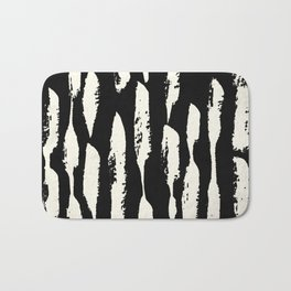 Abstract Stripes in Cream and Black Bath Mat