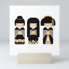 Posh Kokeshi Trio - Folk Art Style Japanese Doll Mini Art Print