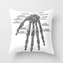 Bones of the Human Hand // Anatomy Skeleton Throw Pillow
