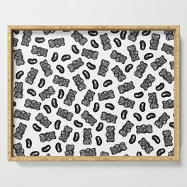 Jelly Beans & Gummy Bears Pattern - black on white Serving Tray