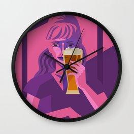 woman drinking beer Wall Clock