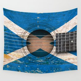 Old Vintage Acoustic Guitar with Scottish Flag Wall Tapestry