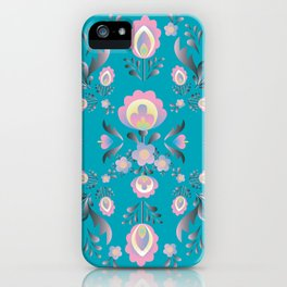 Dusty Blue Folk Flowers iPhone Case