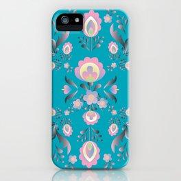 Dusty Blue Folk Flowers iPhone Case