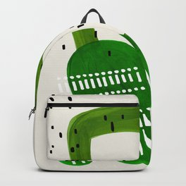 Fun Mid Century Modern Abstract Minimalist Olive Green Rings Grey Black Accent Backpack