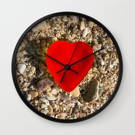 Red Heart Shape Jelly Candy on the Beach of Cannes  Wall Clock