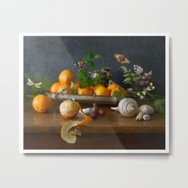 Still Life with Clementines Metal Print
