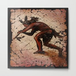 Kokopelli, The Flute Player Fresco Wall Art Metal Print