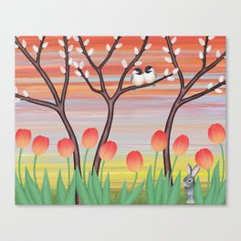 chickadees, pussy willow, & tulips Canvas Print
