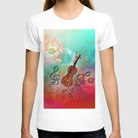violin T-shirts featuring Violin with violin bow by nicky2342