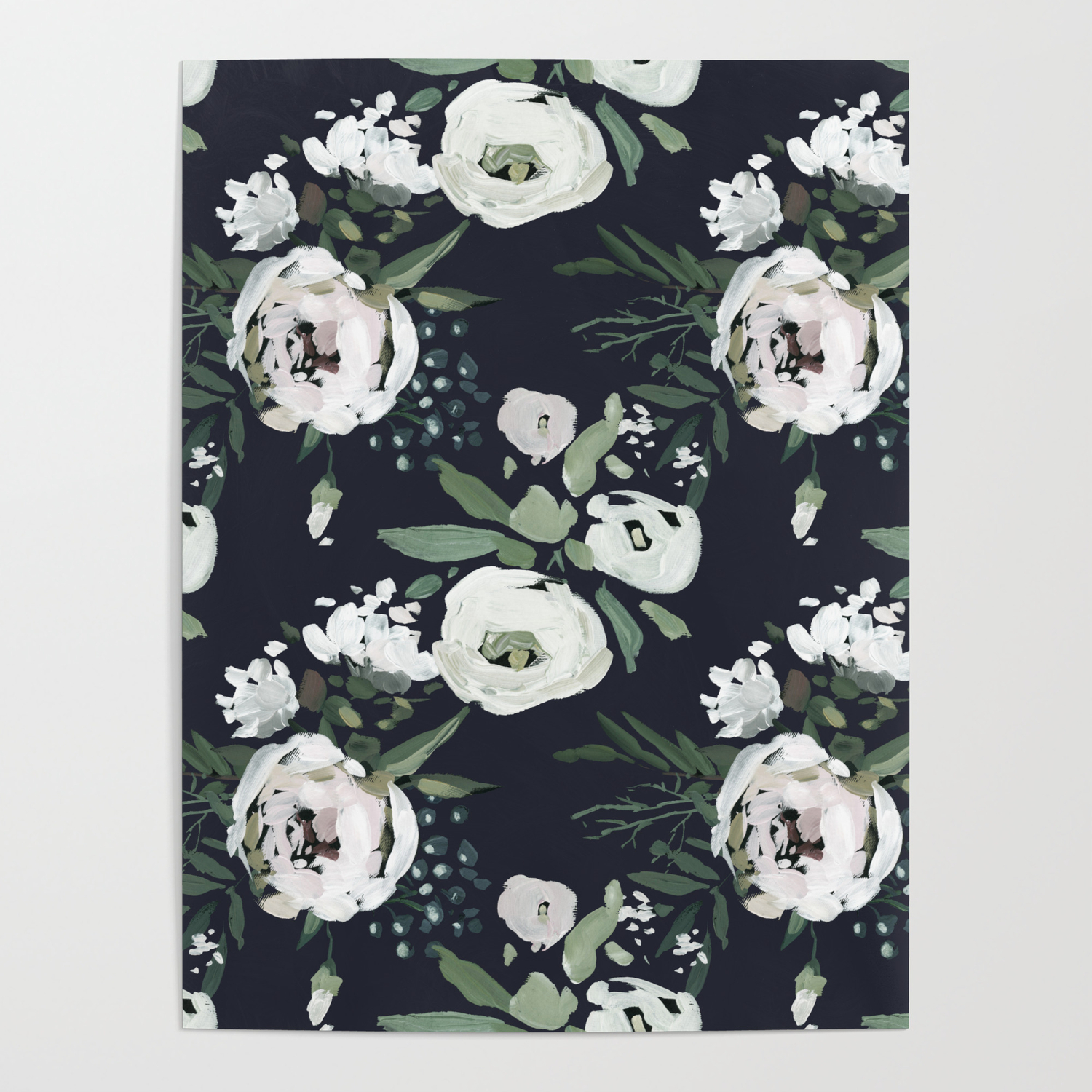 Navy Floral Vintage Wallpaper Poster By Janykamitchell Society6