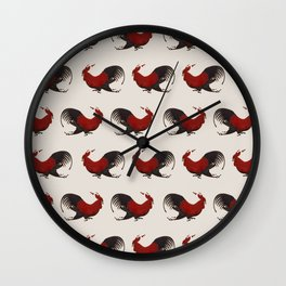 Running Roosters Wall Clock