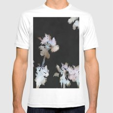 Tropical Palms On Black Background White MEDIUM Mens Fitted Tee