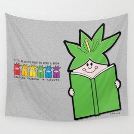 Reading Rainbow in Harmony - Green Wall Tapestry