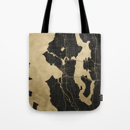 Seattle Black and Gold Map Tote Bag