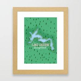 Lake Lucerne Switzerland map poster. Framed Art Print
