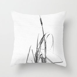Winter Bulrushes ~ Cattail in the Snow  Throw Pillow