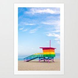 Venice Rainbow Lifeguard Stand Art Print