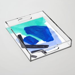 Ocean Torrent Whirlpool Teal Turquoise Blue Acrylic Tray