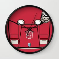 transformers Wall Clocks featuring Transformers - Sideswipe by CaptainLaserBeam