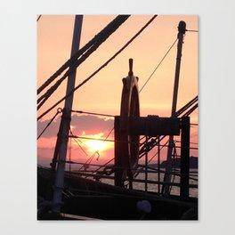 Ships Wheel over Lake Canvas Print