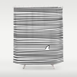 Minimal Line Drawing Simple Unique Shark Fin Gift Shower Curtain