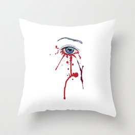 Blue eye with red paint Throw Pillow