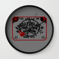 ouija Wall Clocks featuring Ouija Board by CarloJ1956