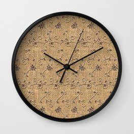 Burlap and Lace Pattern Wall Clock